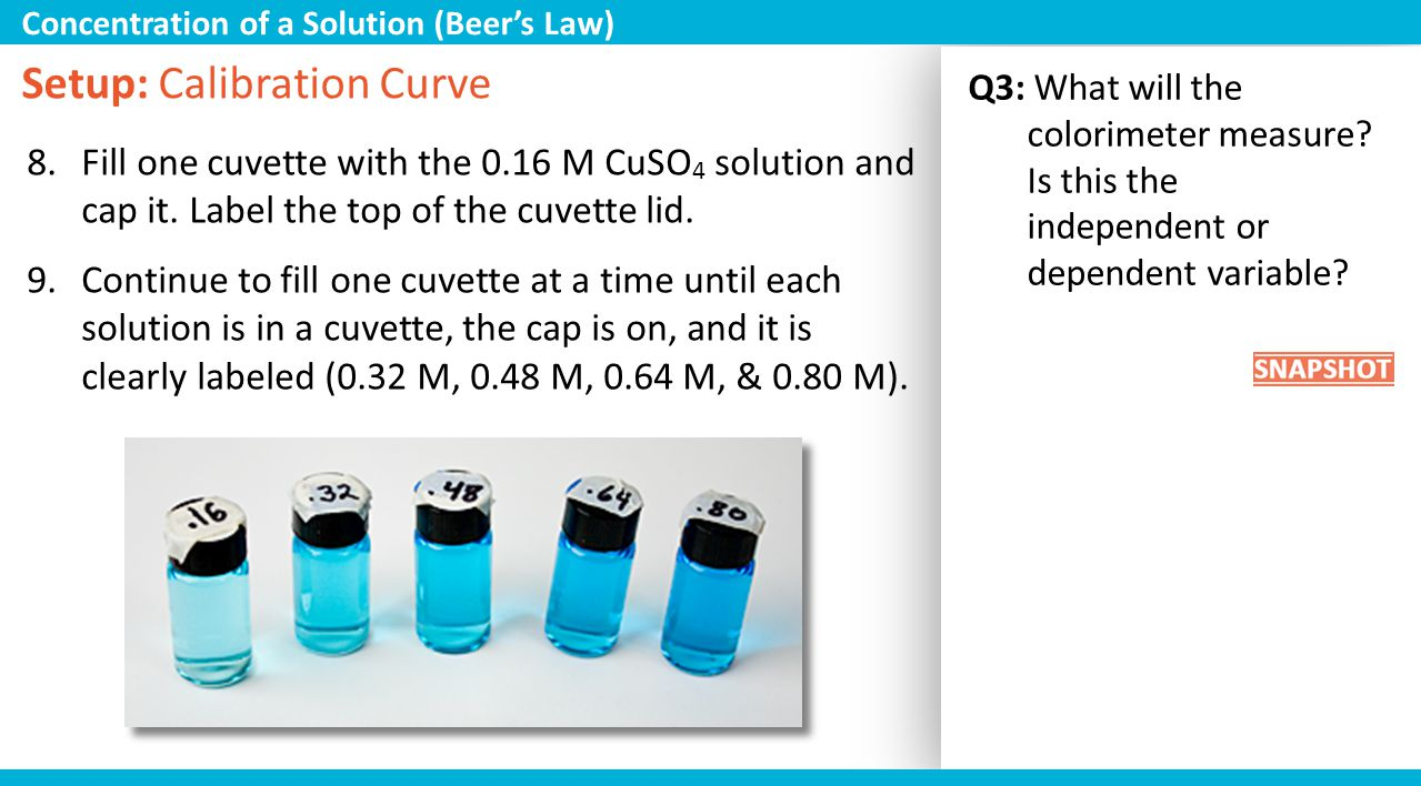 Q3: What will the colorimeter measure? Is this the independent or dependent variable? Setup: Calibration Curve 8.Fill one cuvette with the 0.16 M CuSO