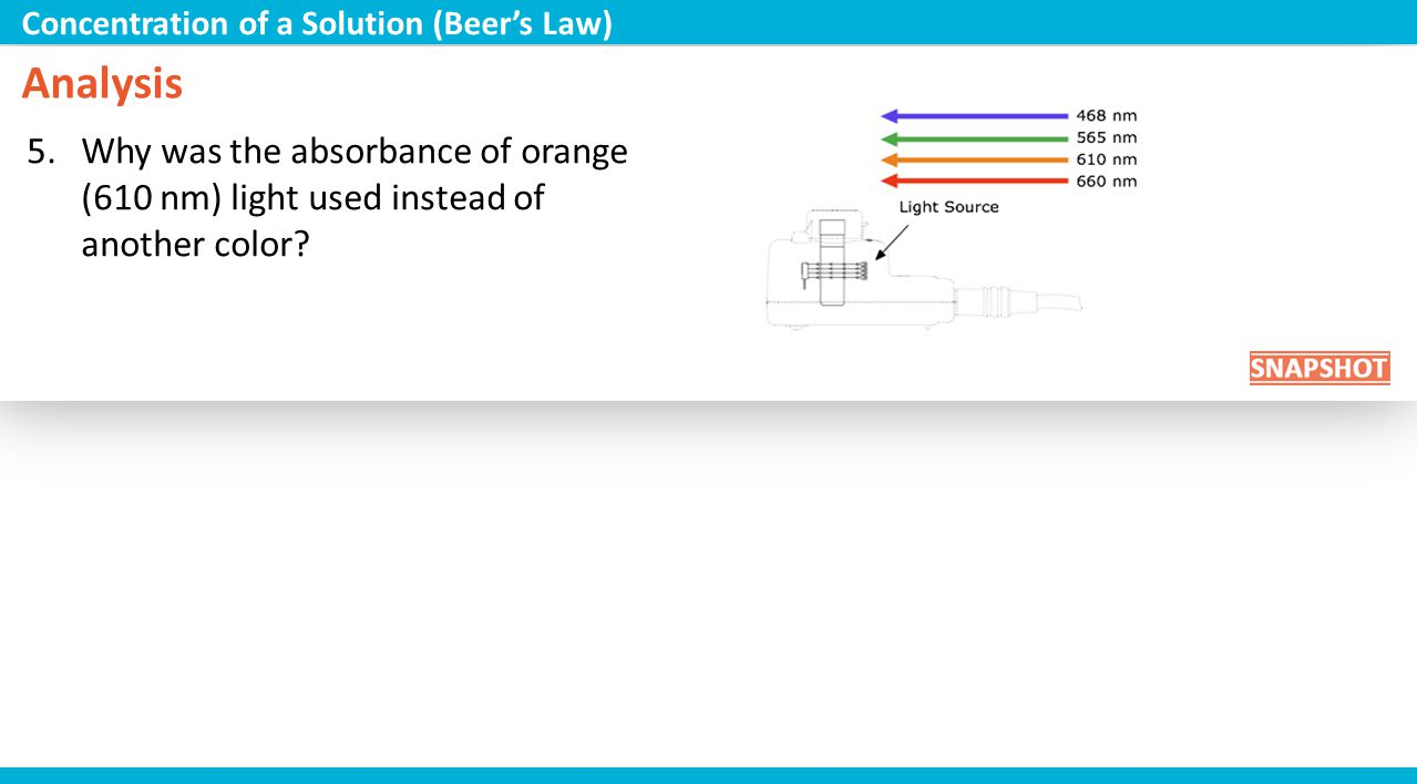 Analysis 5.Why was the absorbance of orange (610 nm) light used instead of another color? Concentration of a Solution (Beers Law)
