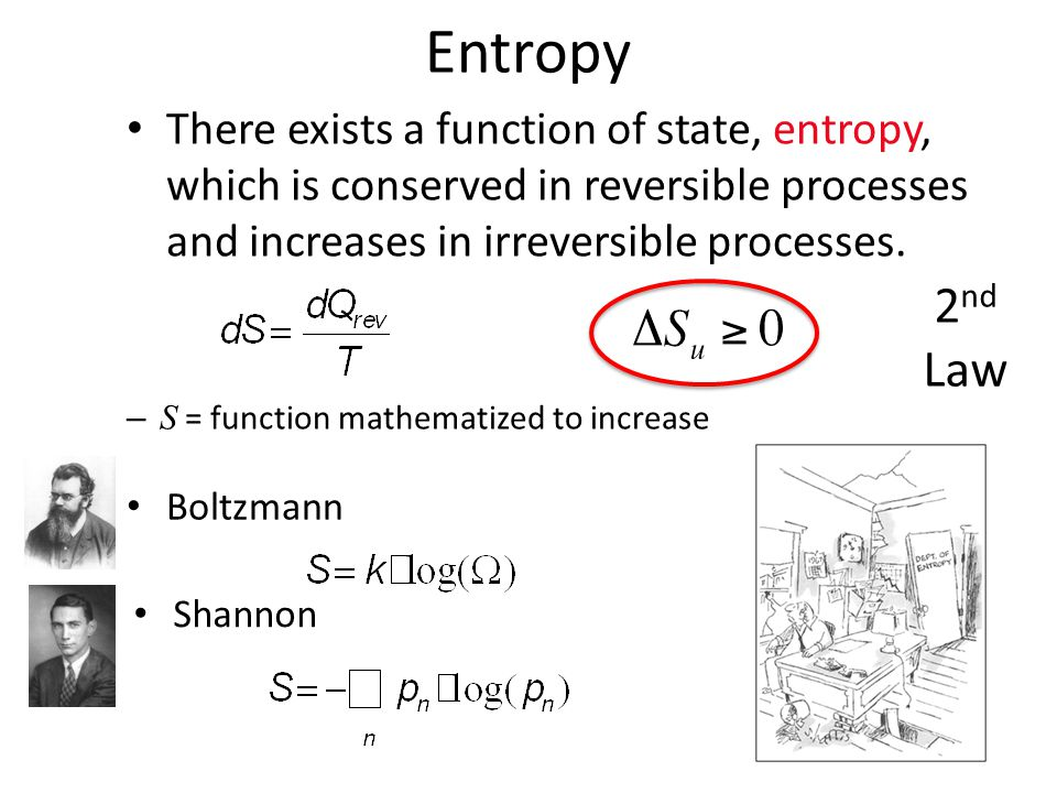 Entropy There exists a function of state, entropy, which is conserved in reversible processes and increases in irreversible processes.