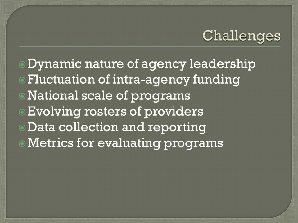 Dynamic nature of agency leadership Fluctuation of intra-agency funding National scale of programs Evolving rosters of providers Data collection and reporting Metrics for evaluating programs
