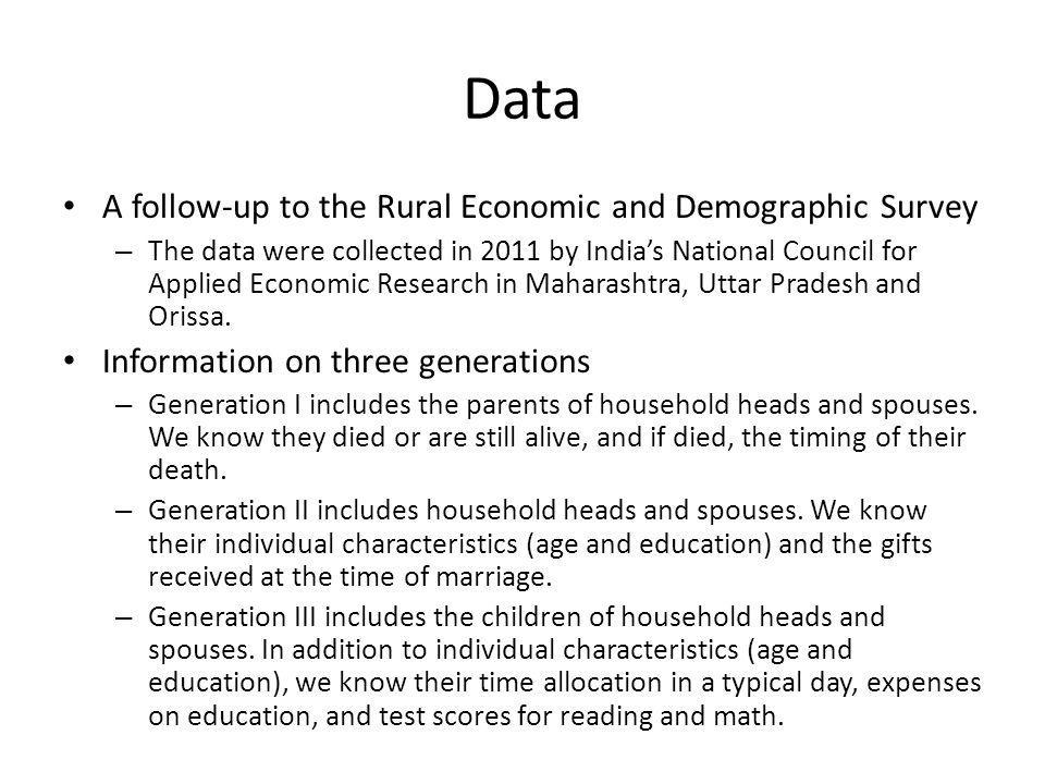 Data A follow-up to the Rural Economic and Demographic Survey – The data were collected in 2011 by Indias National Council for Applied Economic Research in Maharashtra, Uttar Pradesh and Orissa.