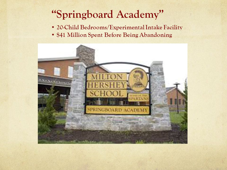 Springboard Academy 20-Child Bedrooms/Experimental Intake Facility $41 Million Spent Before Being Abandoning