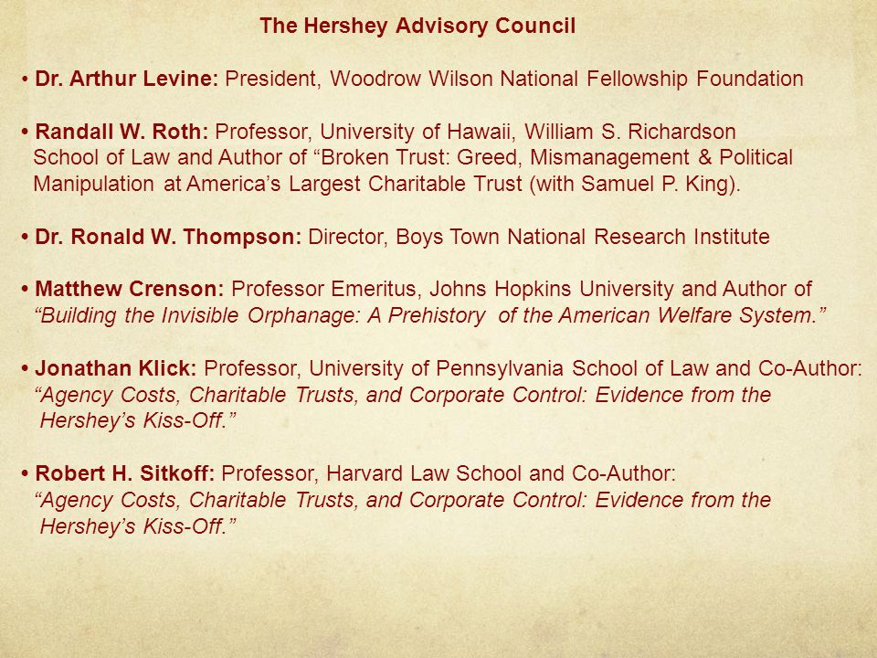 The Hershey Advisory Council Dr.