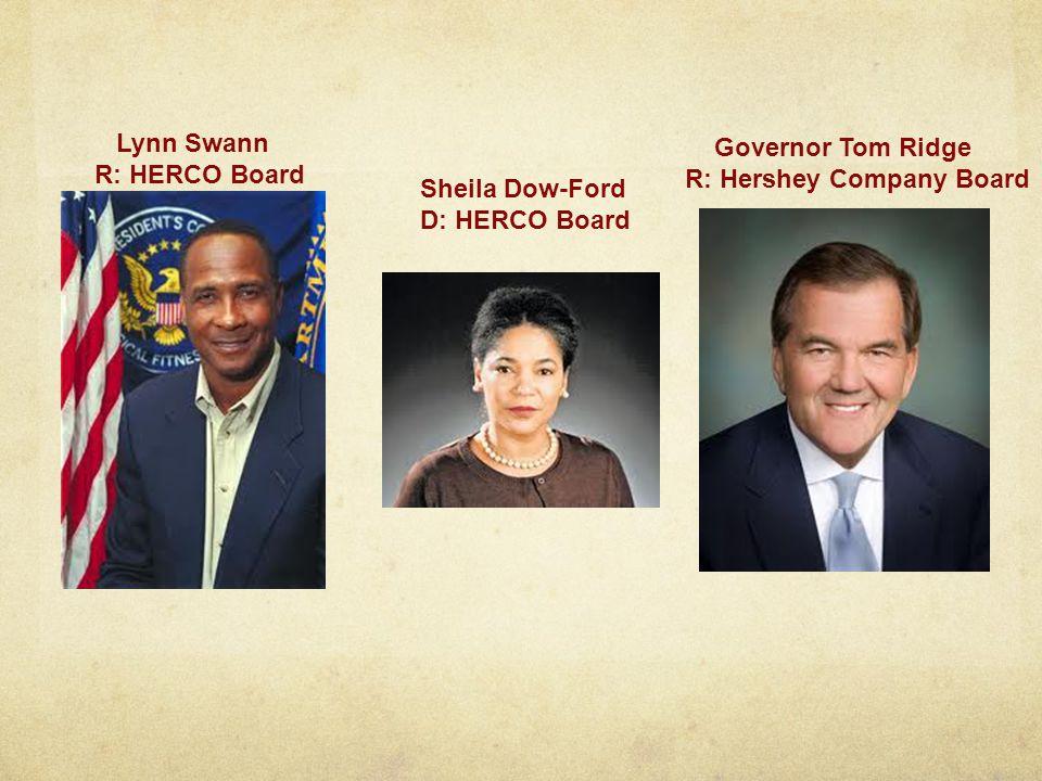 Lynn Swann R: HERCO Board Sheila Dow-Ford D: HERCO Board Governor Tom Ridge R: Hershey Company Board