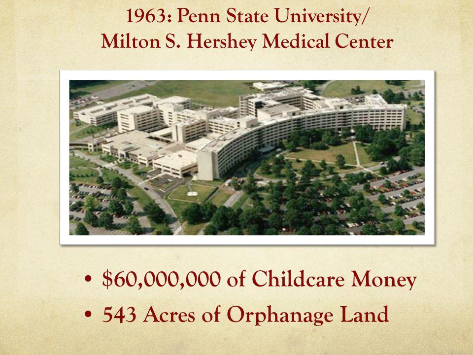 $60,000,000 of Childcare Money 543 Acres of Orphanage Land 1963: Penn State University/ Milton S.