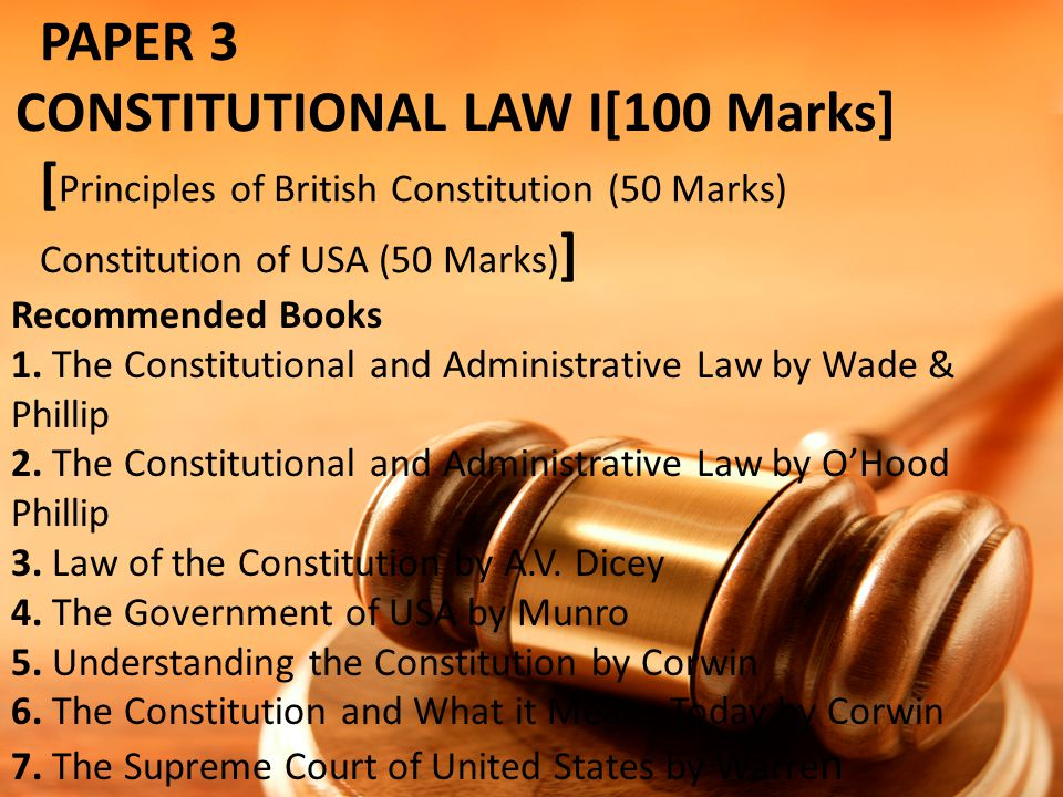 PAPER 5 ADMINISTRATIVE LAW[100 Marks] Principles of Administrative Law (40 Marks) Law of Administrative Tribunals (30 Marks) Law of Civil Service (30 Marks) Recommended Books 1.Administrative Law; H.W.R.