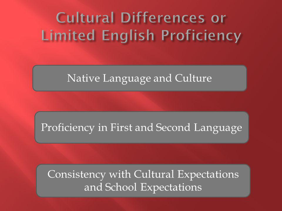 Native Language and Culture Proficiency in First and Second Language Consistency with Cultural Expectations and School Expectations