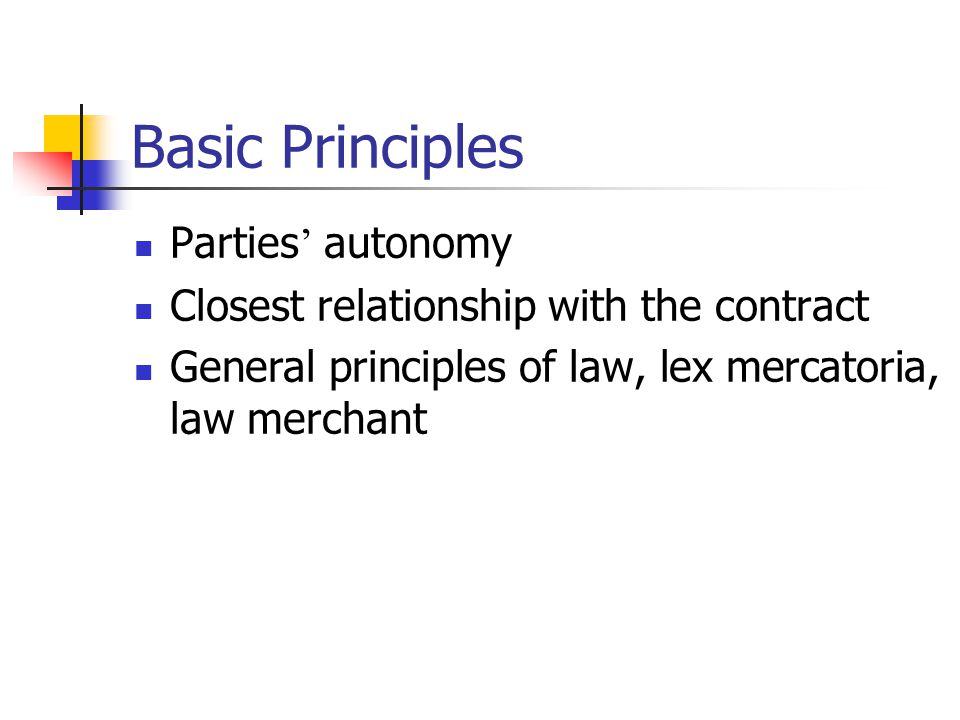 Basic Principles Parties autonomy Closest relationship with the contract General principles of law, lex mercatoria, law merchant