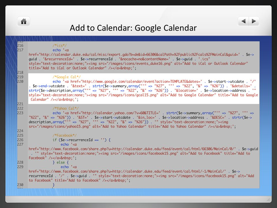 Add to Calendar: Google Calendar