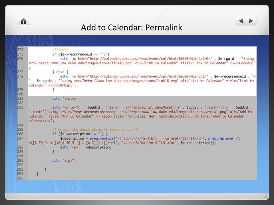 Add to Calendar: Permalink