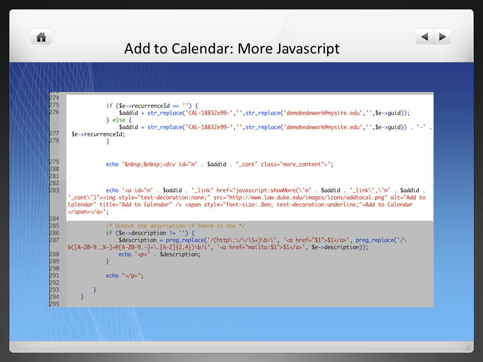 Add to Calendar: More Javascript