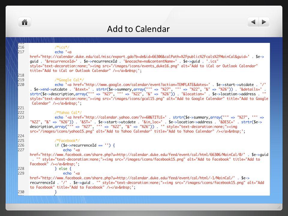 Add to Calendar: ICS