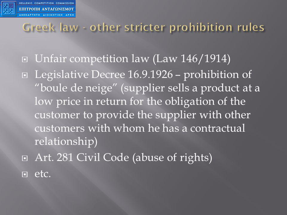 Unfair competition law (Law 146/1914) Legislative Decree 16.9.1926 – prohibition of boule de neige (supplier sells a product at a low price in return for the obligation of the customer to provide the supplier with other customers with whom he has a contractual relationship) Art.