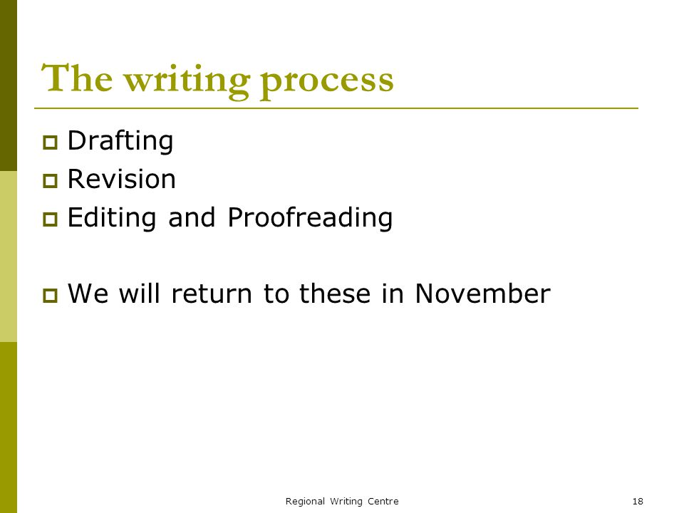 Regional Writing Centre18 The writing process Drafting Revision Editing and Proofreading We will return to these in November