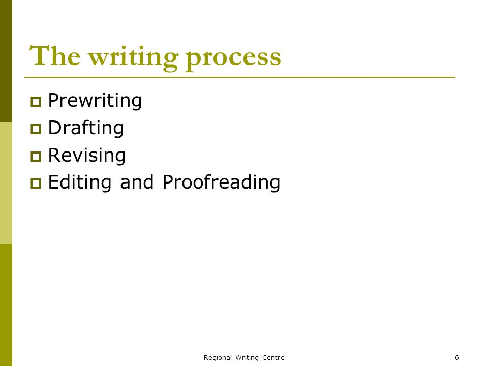 Regional Writing Centre6 The writing process Prewriting Drafting Revising Editing and Proofreading