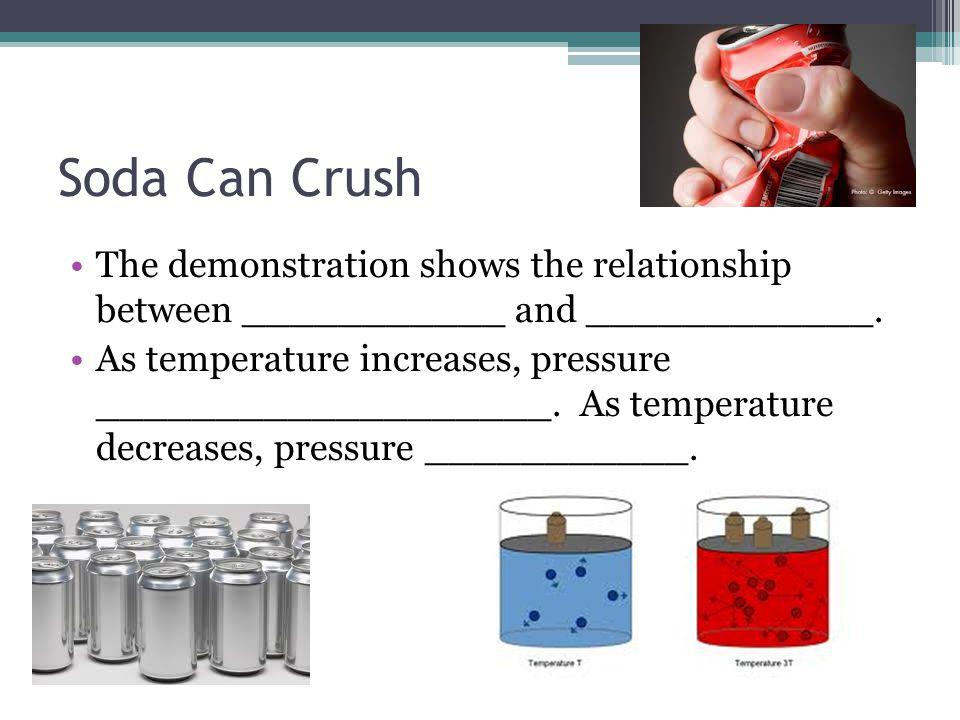 Soda Can Crush Summary of Procedure: (1) A small amount of water (~15 mL) is poured into an empty soda can.