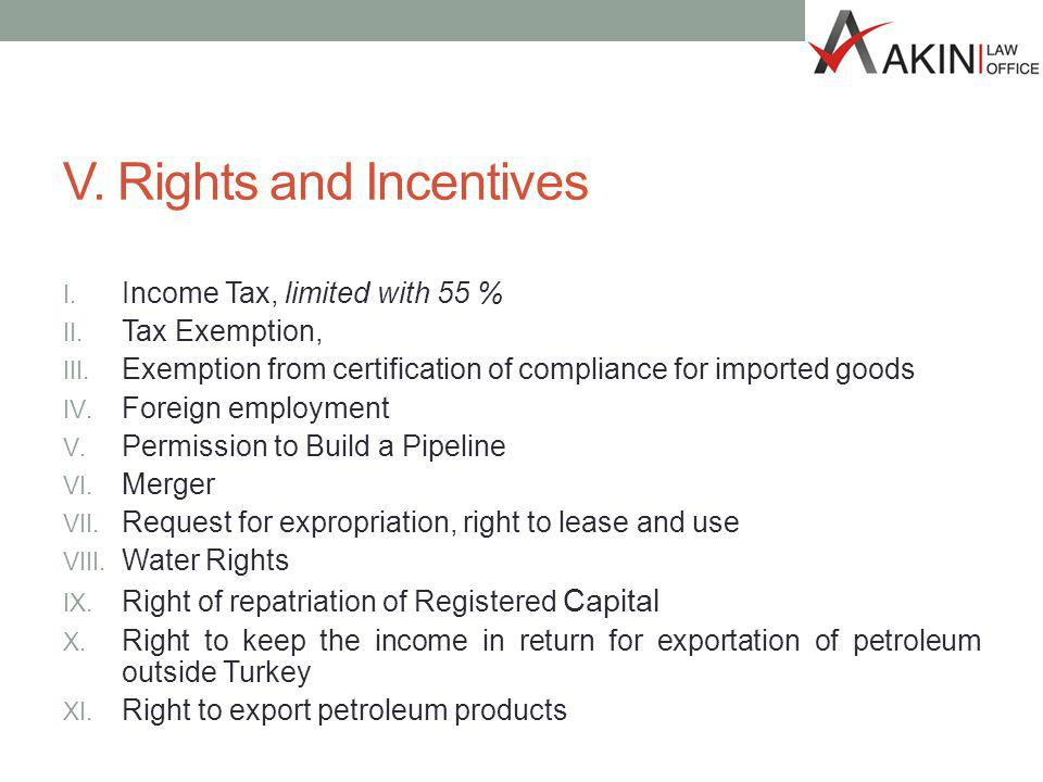 V. Rights and Incentives I. Income Tax, limited with 55 % II.