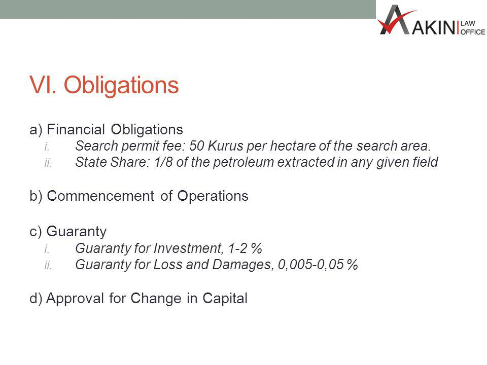 VI. Obligations a) Financial Obligations i.