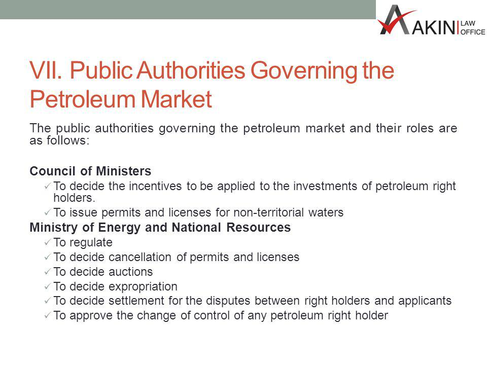 VII. Public Authorities Governing the Petroleum Market The public authorities governing the petroleum market and their roles are as follows: Council o