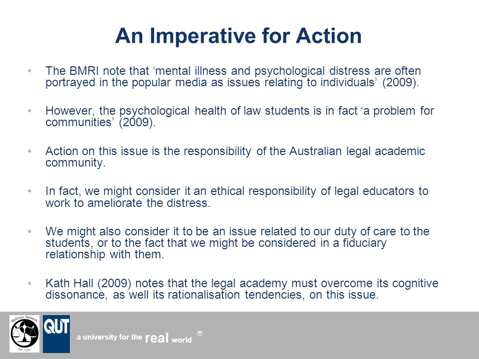 a university for the world real R An Imperative for Action The BMRI note that mental illness and psychological distress are often portrayed in the popular media as issues relating to individuals (2009).