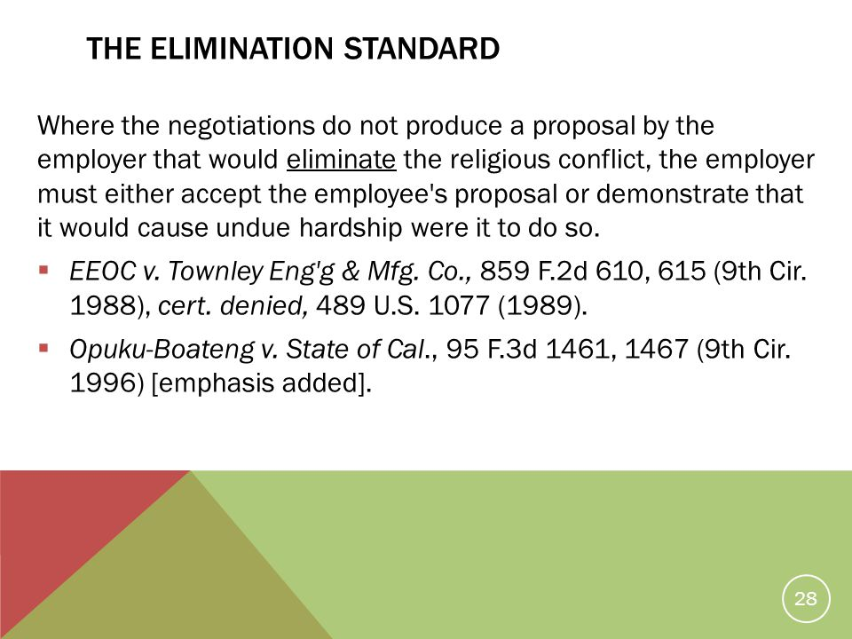 THE ELIMINATION STANDARD Where the negotiations do not produce a proposal by the employer that would eliminate the religious conflict, the employer mu
