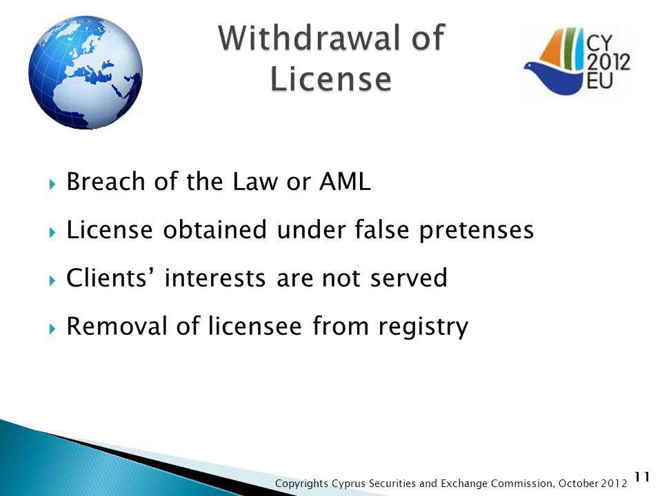 11 Breach of the Law or AML License obtained under false pretenses Clients interests are not served Removal of licensee from registry Copyrights Cyprus Securities and Exchange Commission, October 2012