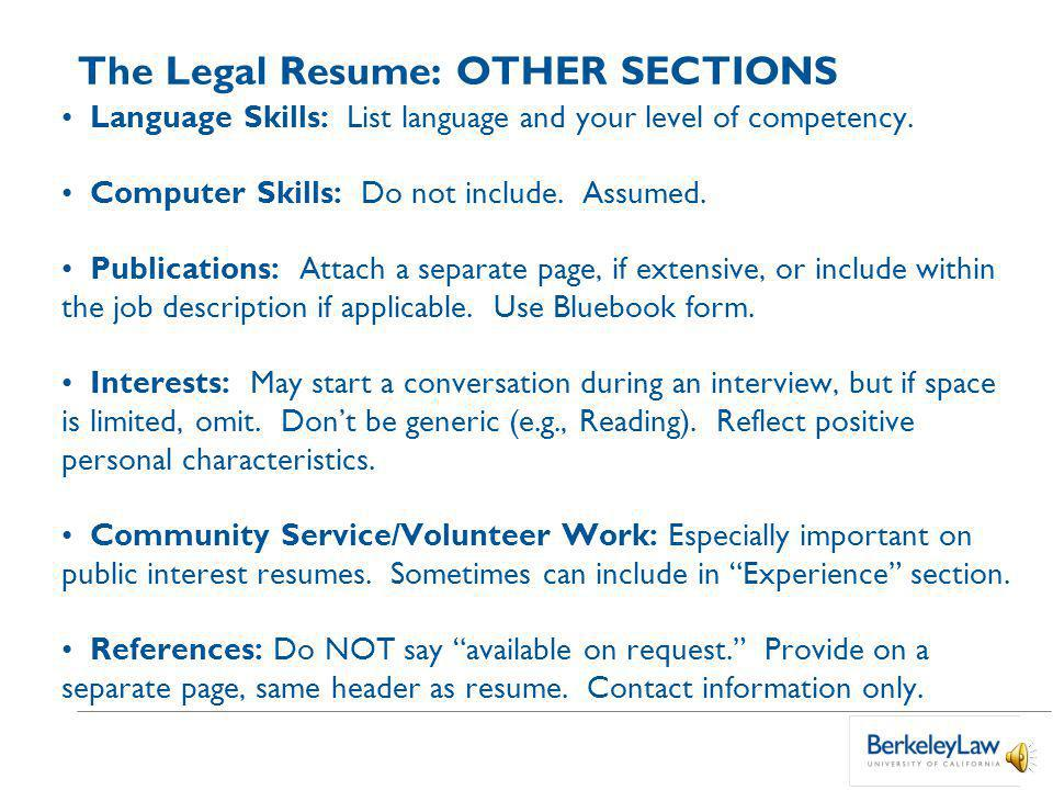 The Legal Resume: EXPERIENCE EXPERIENCE Institute for the Study of Social Change, Berkeley, CA Summer 2005 Research Assistant Conducted intensive sociological interviews with individuals affected by genetically transmitted blood diseases.