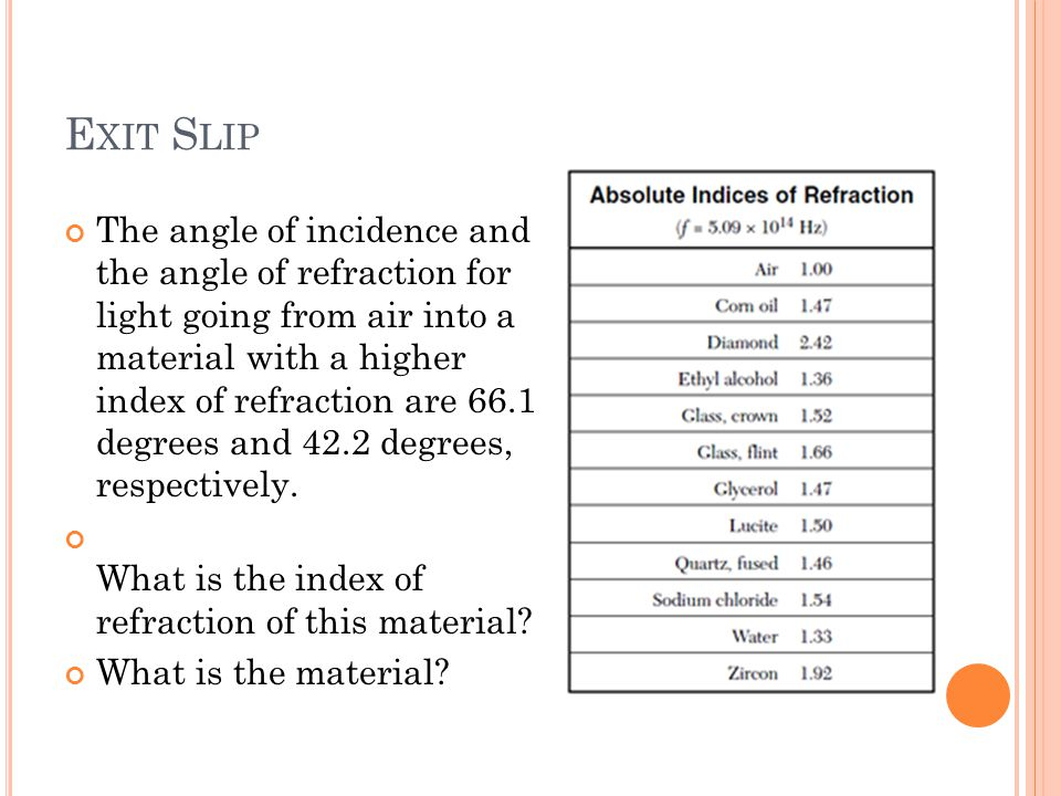 E XIT S LIP The angle of incidence and the angle of refraction for light going from air into a material with a higher index of refraction are 66.1 degrees and 42.2 degrees, respectively.