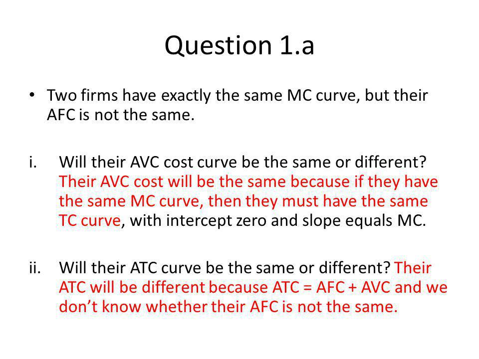 Question 1.b What shape does the AFC curve take.