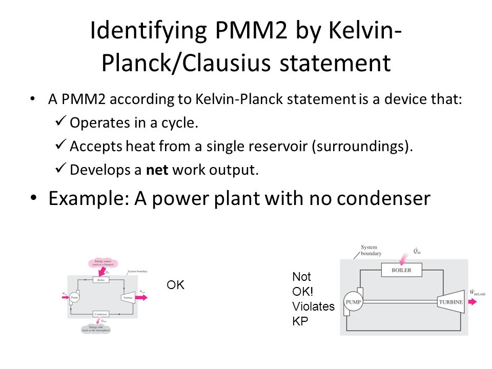 Identifying PMM2 by Kelvin- Planck/Clausius statement A PMM2 according to Kelvin-Planck statement is a device that: Operates in a cycle. Accepts heat