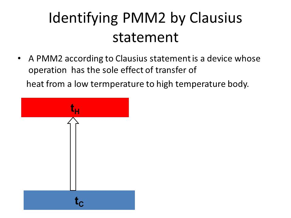 Identifying PMM2 by Clausius statement A PMM2 according to Clausius statement is a device whose operation has the sole effect of transfer of heat from