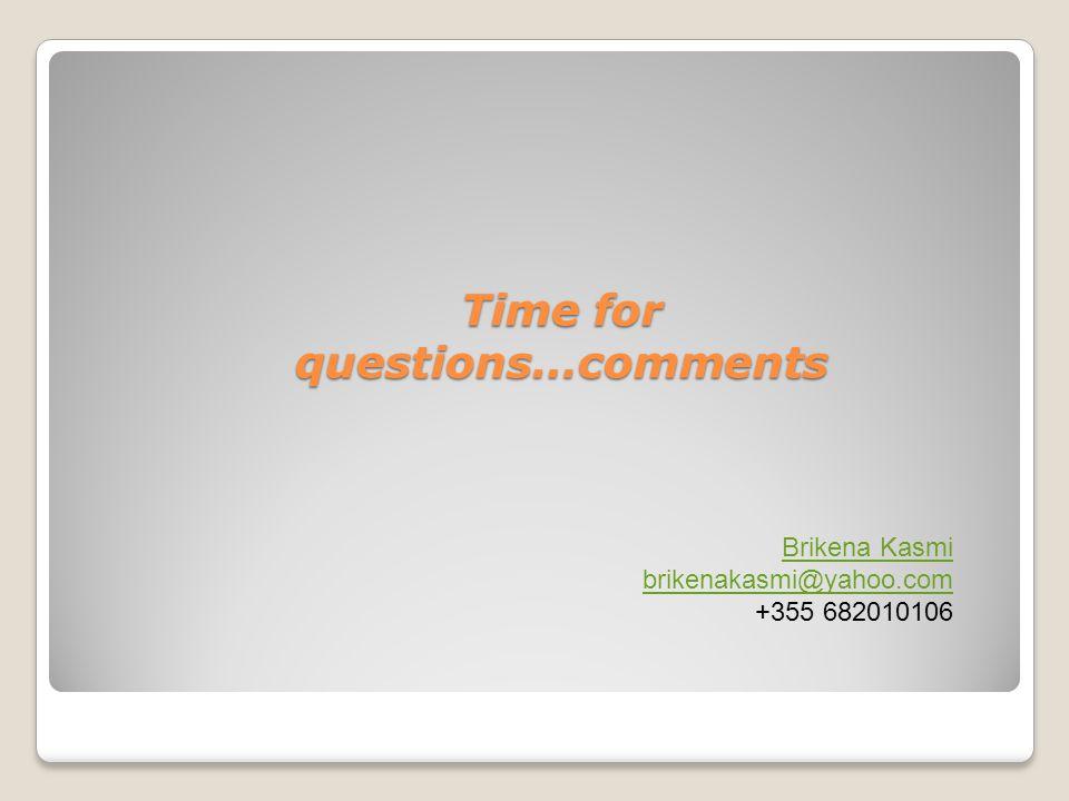 Time for questions…comments Brikena Kasmi brikenakasmi@yahoo.com +355 682010106