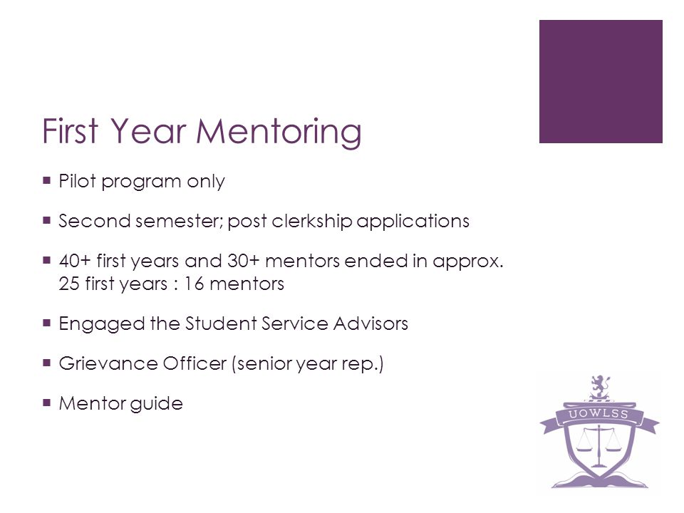 First Year Mentoring Pilot program only Second semester; post clerkship applications 40+ first years and 30+ mentors ended in approx. 25 first years :