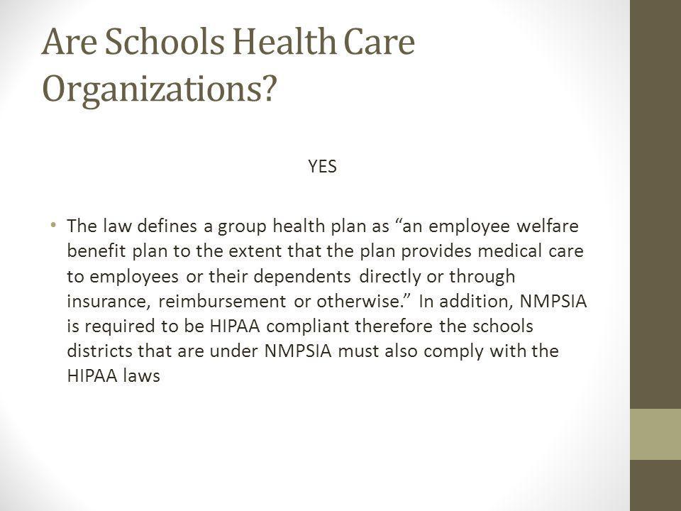 Are Schools Health Care Organizations.