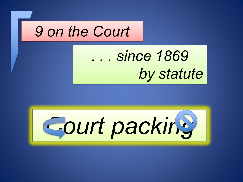 9 on the Court... since 1869 by statute... since 1869 by statute Court packing