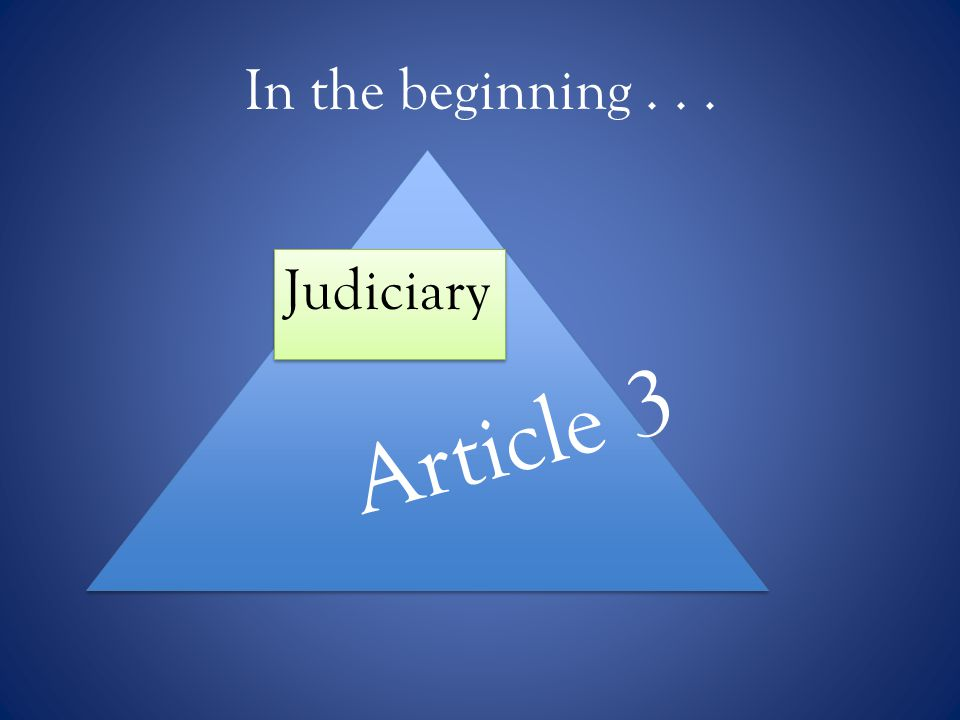In the beginning... Judiciary Article 3