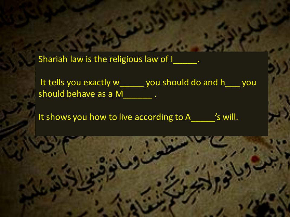 Shariah law is the religious law of I_____.