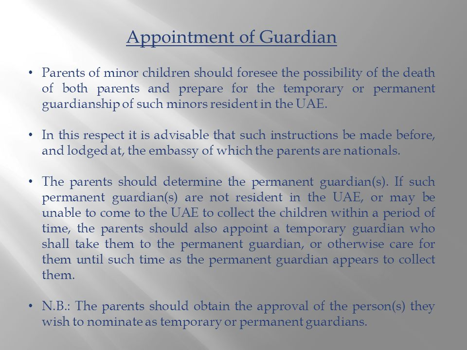 Parents of minor children should foresee the possibility of the death of both parents and prepare for the temporary or permanent guardianship of such