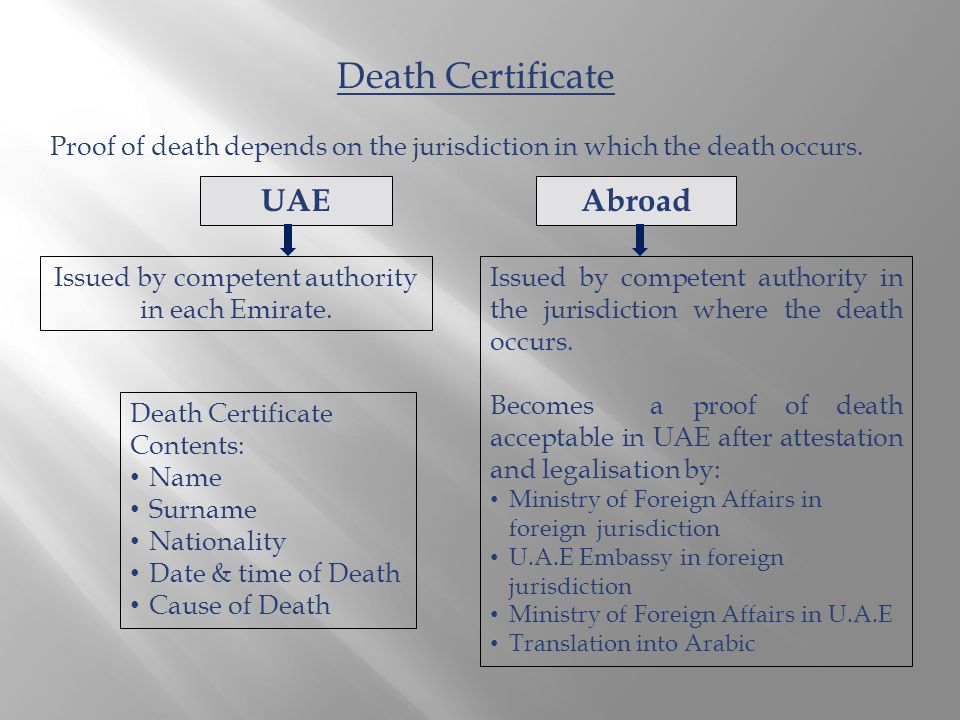 Proof of death depends on the jurisdiction in which the death occurs.