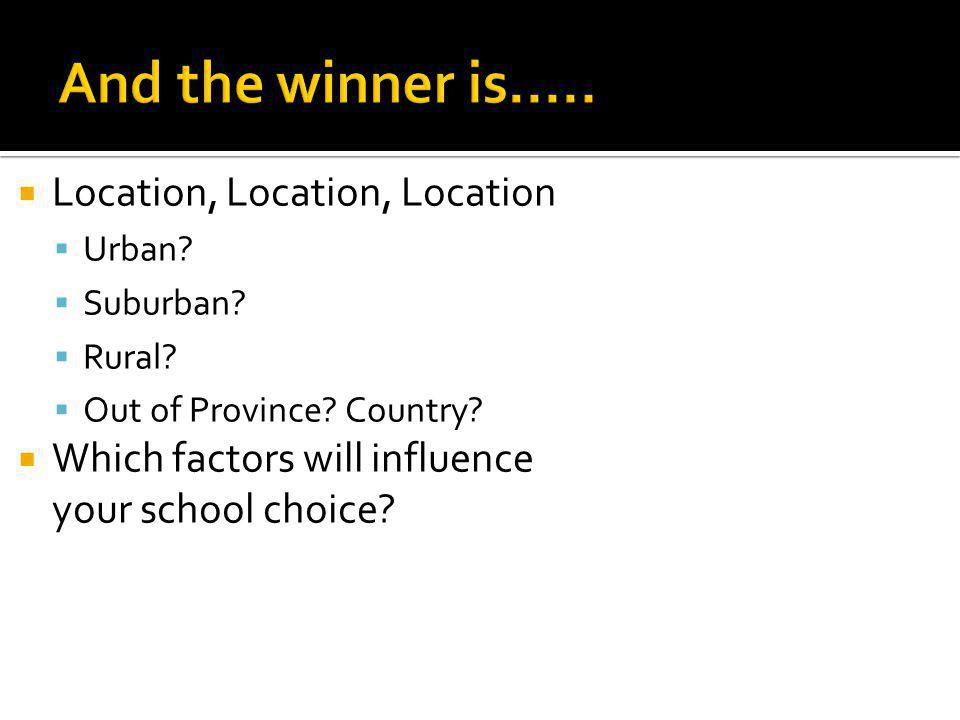 Location, Location, Location Urban? Suburban? Rural? Out of Province? Country? Which factors will influence your school choice?
