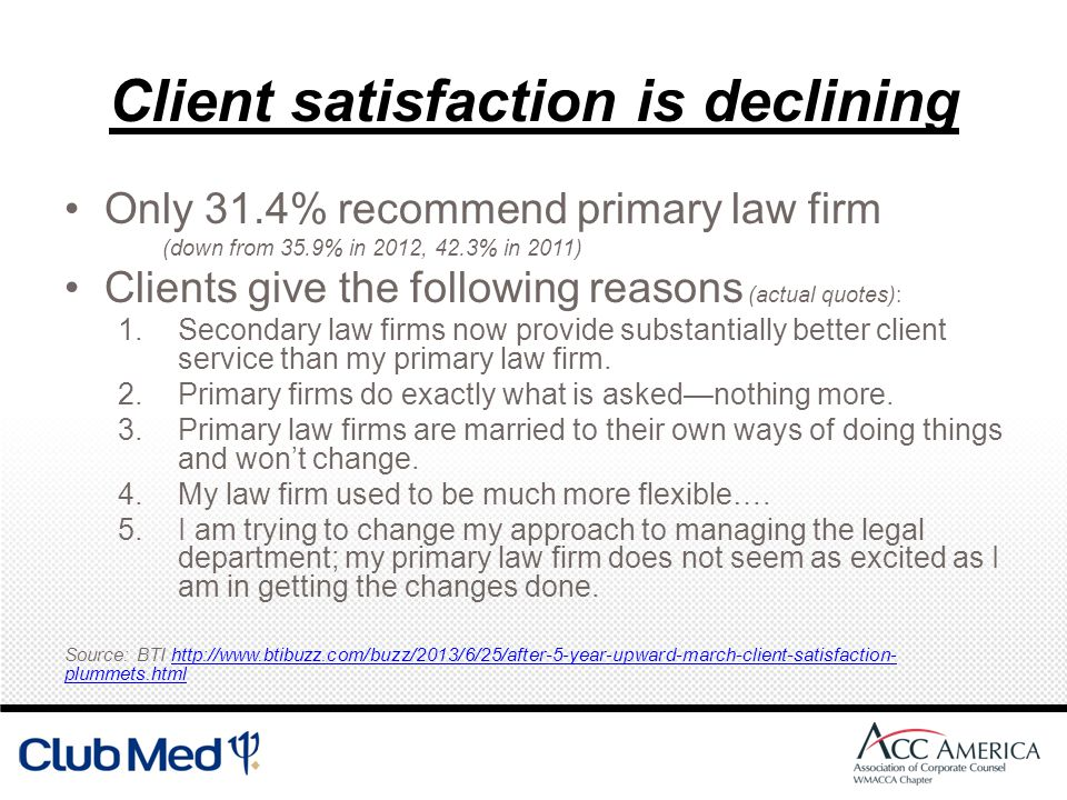 Client satisfaction is declining Only 31.4% recommend primary law firm (down from 35.9% in 2012, 42.3% in 2011) Clients give the following reasons (actual quotes): 1.Secondary law firms now provide substantially better client service than my primary law firm.