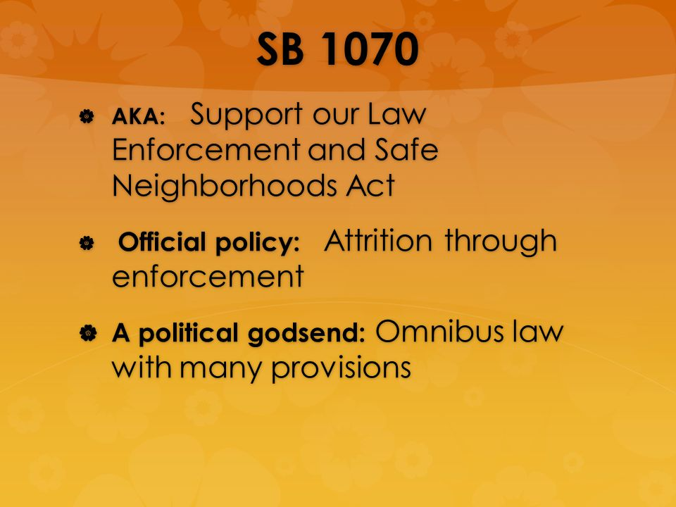 SB 1070 AKA: Support our Law Enforcement and Safe Neighborhoods Act AKA: Support our Law Enforcement and Safe Neighborhoods Act Official policy: Attrition through enforcement Official policy: Attrition through enforcement A political godsend: Omnibus law with many provisions A political godsend: Omnibus law with many provisions