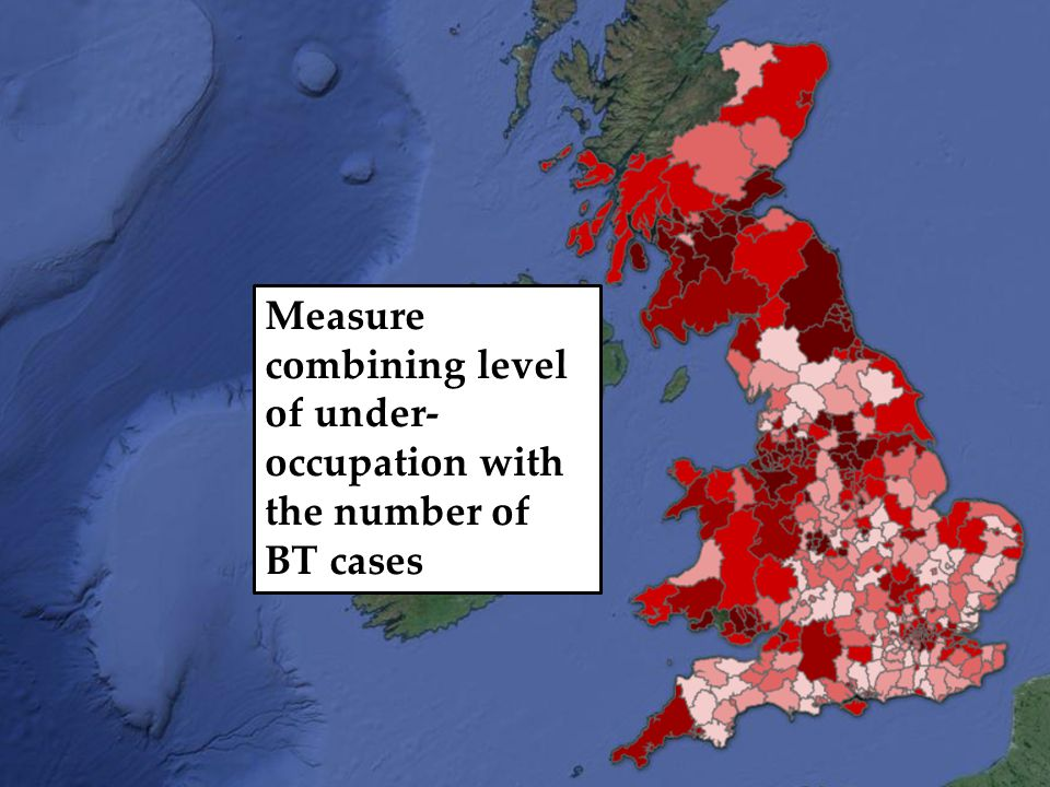Measure combining level of under- occupation with the number of BT cases