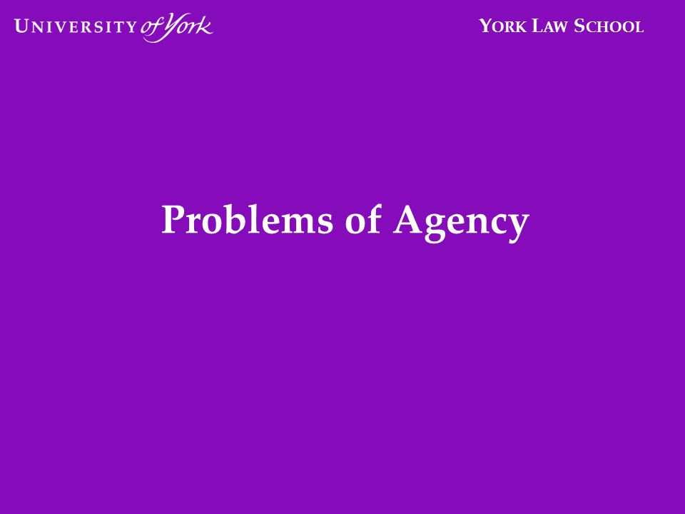 Y ORK L AW S CHOOL Problems of Agency