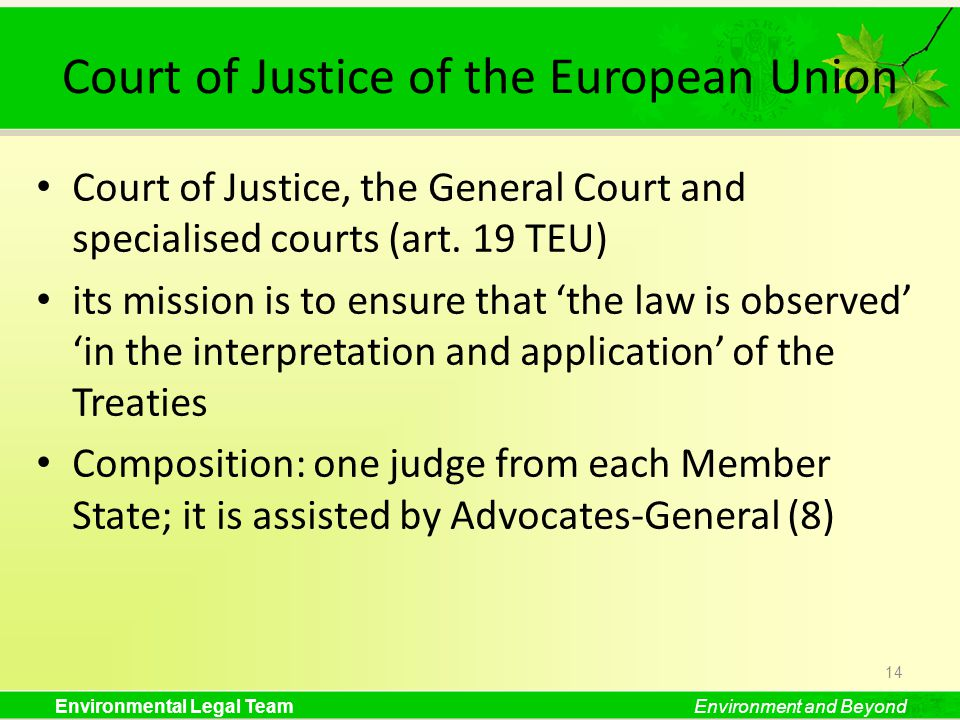Environmental Legal TeamEnvironment and Beyond Court of Justice of the European Union Court of Justice, the General Court and specialised courts (art.