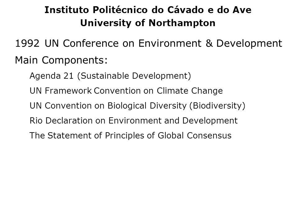 1992UN Conference on Environment & Development Main Components: Agenda 21 (Sustainable Development) UN Framework Convention on Climate Change UN Conve