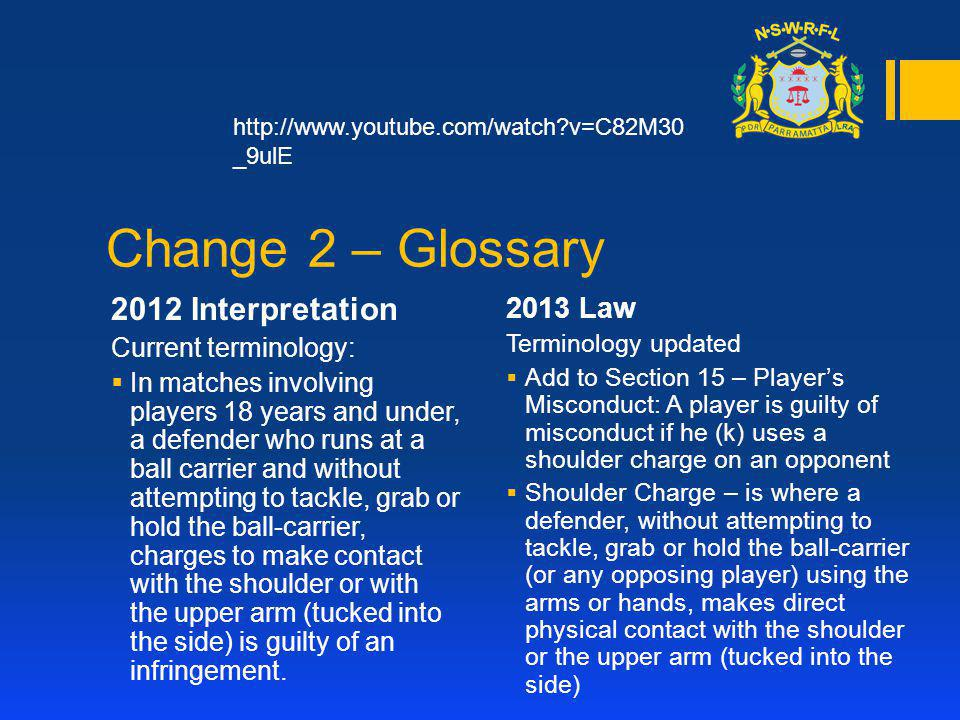 Change 3 – Players & Equipment 2012 Interpretation Current terminology: Not currently listed in the International Laws Book 2013 Law Terminology updated The minimum number of players per team allowed on the field in a match is 9.