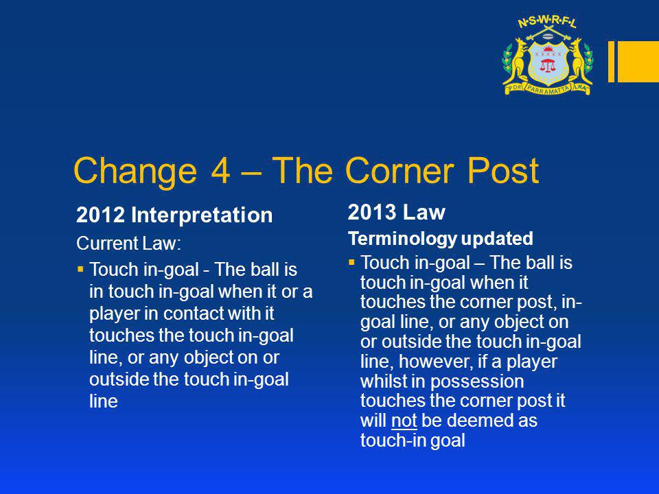 Change 4 – The Corner Post 2012 Interpretation Current Law: Touch in-goal - The ball is in touch in-goal when it or a player in contact with it touche