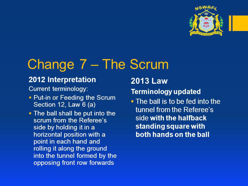 Change 7 – The Scrum 2012 Interpretation Current terminology: Put-in or Feeding the Scrum Section 12, Law 6 (a) The ball shall be put into the scrum f