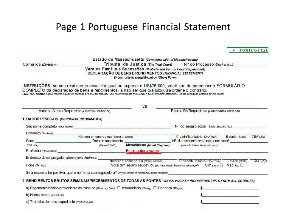 Page 1 Portuguese Financial Statement